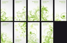 Set Of Vertical Cards with Green Floral Backgrounds Vector