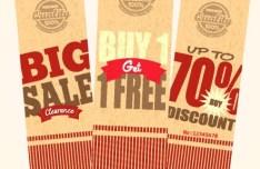Set Of Vintage Big Sale Price Tags Vector 04