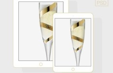 Flat iPad 5 & iPad Mini 2 Champagne PSD