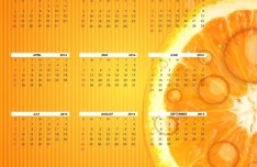 Fresh 2014 Calendar Template with Orange Background Vector