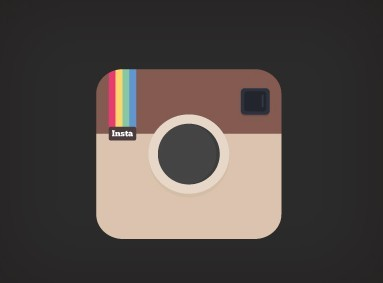 Flat Brown Instagram Icon PSD
