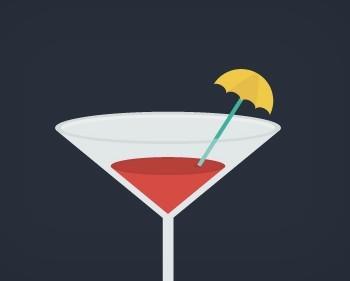 Flat Martini Icon PSD
