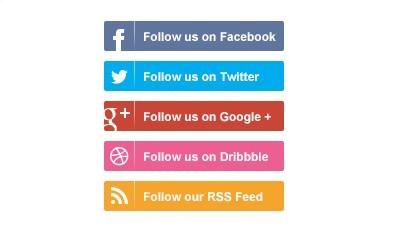 Flat Social Media Follow Buttons PSD
