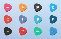 Creative Social Media Flat Icons Set (PSD Included)