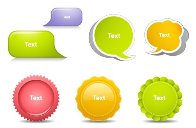 Set Of Clean Speech Bubbles and Stickers Vector