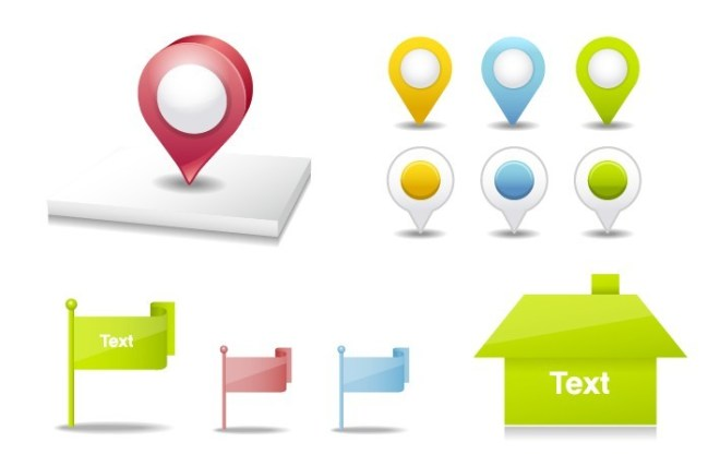 Set Of Vector Clean Map Marker and Flags