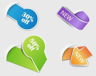 Set of Colored Corner Discount & New Labels Vector