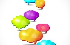 Set Of Colored Creative Speech Bubbles Vector 06