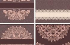 Set Of Vector Brown Floral Patterns