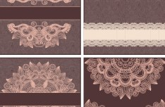 Set Of Vector Brown Floral Patterns