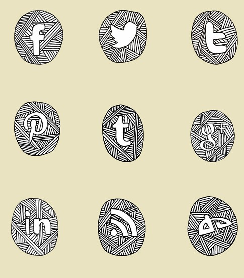 Sketch Social Media Icon Set PSD