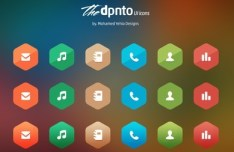 Flat Hexagon Icons PSD