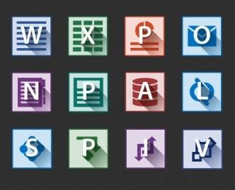 Flat Long Shadow Microsoft Office 2013 Icons