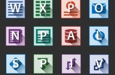 Flat Long Shadow Microsoft Office 2013 Icons