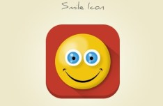 Cute Flat Long Shadow Smile Icon PSD
