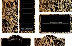 Vintage Dark Floral Card Design Vector 02