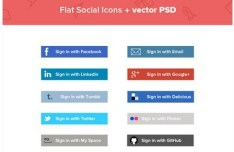 Flat Social Sign In Buttons Vector PSD
