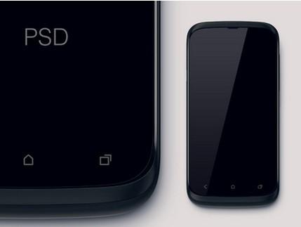 Realistic Black HTC Mockup PSD