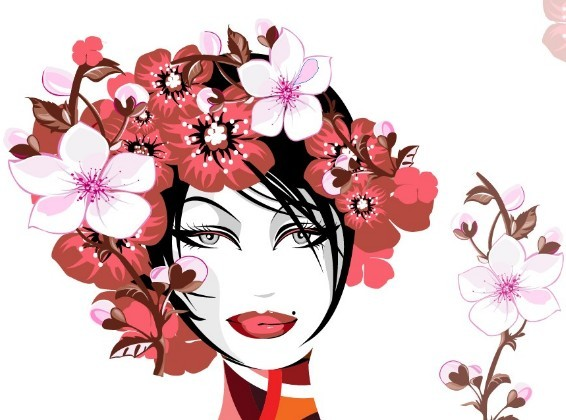 Creative Flower Woman Head Illustration Vector 01