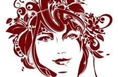 Creative Flower Woman Head Illustration Vector 03
