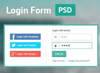 Flat Green Border Login Form PSD
