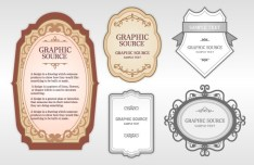 Set Of Clean & Retro Label Stickers Vector 04