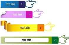 Set Of Colored Gesture Text Labels Vector