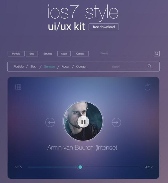 iOS 7 Style UI & UX Kit PSD