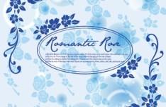 Blue Romantic Rose Background Vector 02