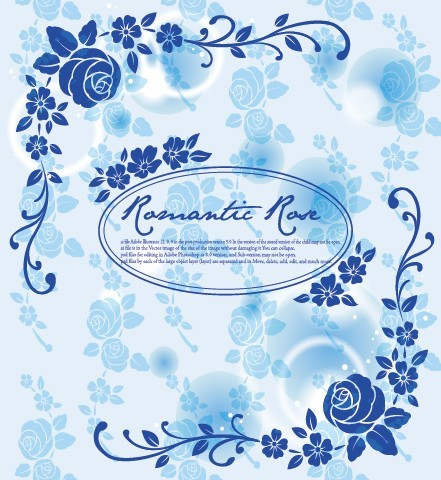 Blue Romantic Rose Background Vector 02