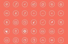 Round Thin Line Icons Pack PSD