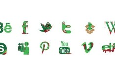 Zombie Social Media Icons Vector