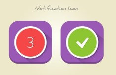 Rounded Flat Notification Icons PSD
