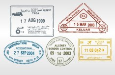 Set of Various Passport Visa Stamps Vector 01