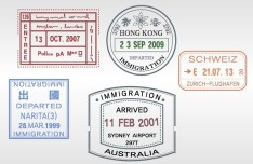 Set of Various Passport Visa Stamps Vector 02