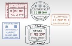 Set of Various Passport Visa Stamps Vector 02