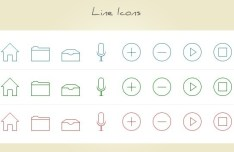 8 Thin Line Icons PSD