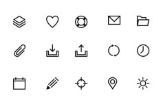 25 Sweet Line Icons PSD