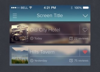 Fashion iOS 7 UI With Blurred Background PSD