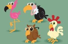 Cute Cartoon Birds Illustration Vector