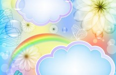 Fantasy & Colorful Flower Background Vector 01