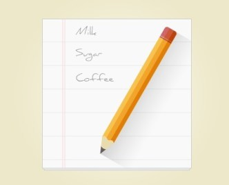 Flat Notepad Paper with Pencil PSD