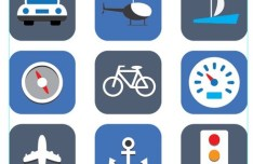 9 Rounded Transport Icons Vector