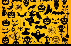 Set Of Dark Halloween Shapes Vector