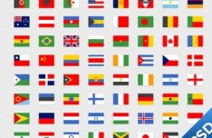 Simple National Flag Icon Set 01 PSD