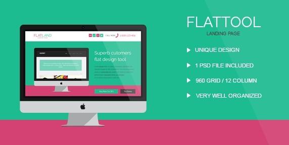 FlatTool Responsive Landing Page Template PSD