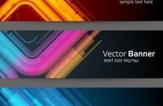 Set Of Fashion Banners with Neon Light Curves Backgrounds Vector