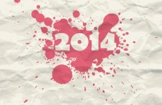 Splashed 2014 On Crumpled Paper