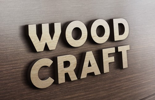 3D Wood Logo Mockup PSD