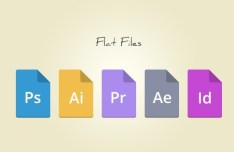 5 Flat Adobe File Type Icons PSD